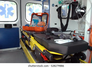 Ambulance gurney inside the car