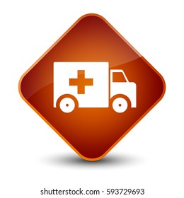 Ambulance icon isolated on elegant brown diamond button abstract illustration