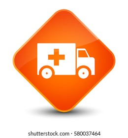 Ambulance icon isolated on special orange diamond button abstract illustration