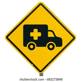 Ambulance icon on yellow warning sign, warning sign, lable, Yellow warning sign, Yellow sign. isolated on white background