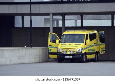 Ambulance near of the Ostfold Regional Hospital. June 17,2018. Osfold Region, Norway
