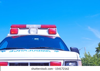 Ambulance with the nice blue sky for copy space