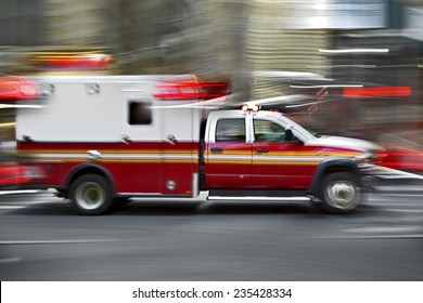 ambulance on emergency call in motion blur