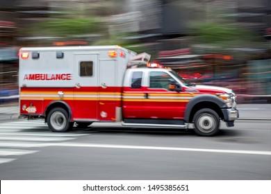 ambulance on emergency car in motion blur