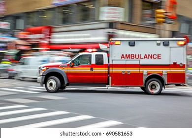 ambulance on emergency car in motion blur
