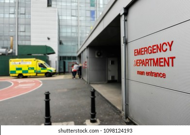 Ambulance outside a hospital Accident and Emergency department.