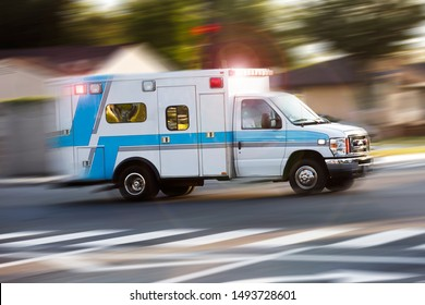 An ambulance responds to the scene of an emergency.