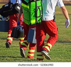 Ambulance stuff on the sport field