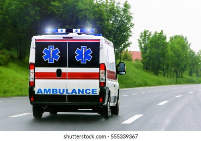 Ambulance van on highway