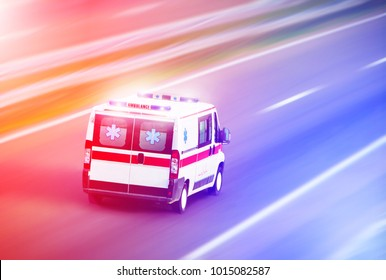Ambulance van on highway with flashing lights