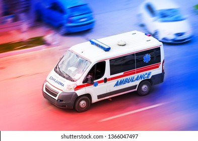 Ambulance van on road