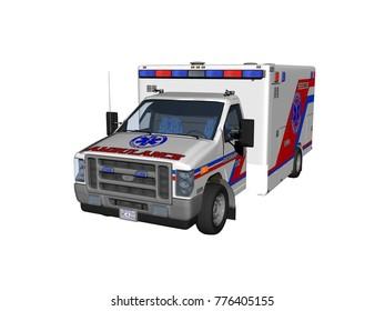 Ambulance vehicle 3D rendering