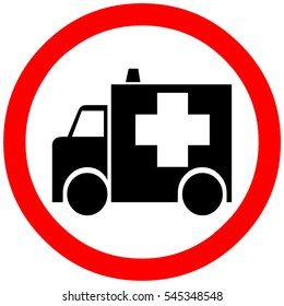 ambulance way, reserved area, passage, stop warning sign symbol on white background.