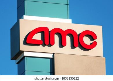 AMC logo above the movie theater on a sunny day under blue sky - Sunnyvale, California, USA