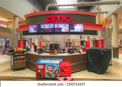 AMC movie theater cinema candy food snack bar refreshments, Danvers Massachusetts USA, March 25, 2019
