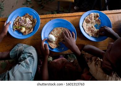 Amdi Woyane, Tigray Region, Ethiopia,  June 04, 2010, School feeding project.