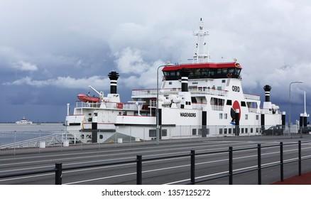 Ameland, Dutch - 1 April 2019.: ferry WAGENBORG. Island Ameland.