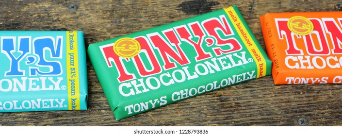 Ameland, Dutch - 13 November 2018.:   Tonys Chocolonely milk chocolate with sea salt and caramel. Fair trade chocolate made by Tonys Chocolonely chocolate
