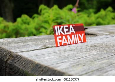 Ameland, Dutch - 14 November 2016.: IKEA FAMILY card on wooden background