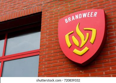 AMELAND, DUTCH - 24 September 2017.: Logo BRANDWEER. Brandweer is fire brigade from Dutch.