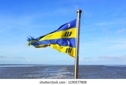 Ameland, Dutch - 3 October 2017.: Ameland flag.