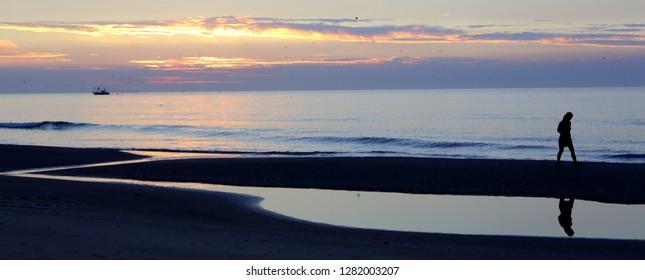Ameland, Dutch - 6 September 2018.: North sea beach and people. West Frisian island Ameland, Friesland, Netherlands