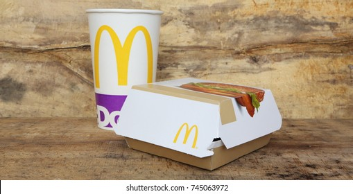 AMELAND, DUTCH - April 2, 2017: Box of McDonald's Chicken burger, McDonald's is a fast food restaurant chain founded in 1940.
