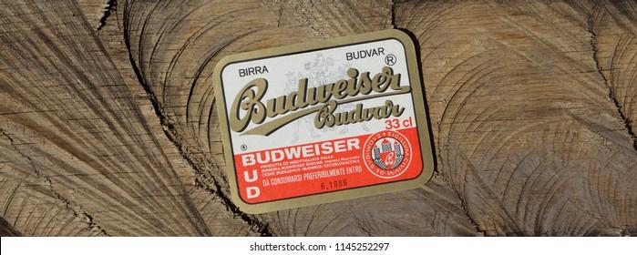Ameland, Dutch - JULY 30, 2018.: Vintage Czech beer labels. BUDWEISER BUDVAR