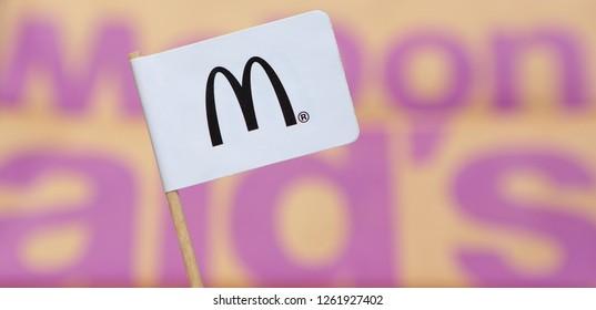 Ameland, Holland - 21 Jun 2018.: Mc Donald flag and world map. McDonald's Corporation is the world's largest chain of hamburger fast food restaurants. - Image. Mc Donalds, Mc Donald's.