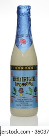 AMELAND, HOLLAND - May 18, 2015 A bottle of the strong pale ale Delirium Tremens, made by the Huyghe Brewery in Belgium, on a white background. It is triple fermented with a fruity and yeasty taste.