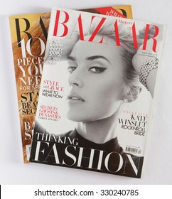 AMELAND, HOLLAND - MAY 21, 2015: Stack of magazines Harpers Bazaar, on top issue Apil 2013 with KATE WINSLET