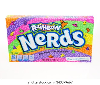 AMELAND, HOLLAND-NOVEMBER 19, 2015: A box of Wonka Rainbow Nerds candy. This candy is a product of Nestle USA Inc. of Glendale,California.