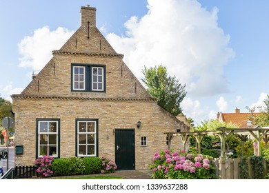 Ameland / Netherlands - 08-19-2017: One of the beautiful old cottages in the place Hollum on the island of Ameland