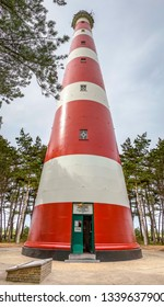 Ameland / Netherlands - 08-19-2017: A panorama photo of the lighthouse on the island of Ameland, near the town of Hollum