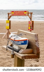 Ameland / Netherlands - 08-19-2017: Replica of the horses life boat on the beach of the island Ameland