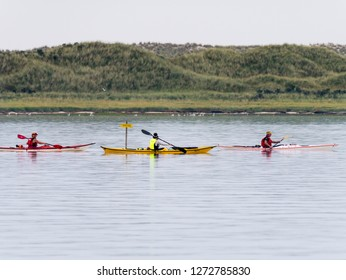 AMELAND, NETHERLANDS - AUG 26, 2017: People kayaking near nature reserve Het Oerd on West Frisian island Ameland in Wadden Sea, Friesland