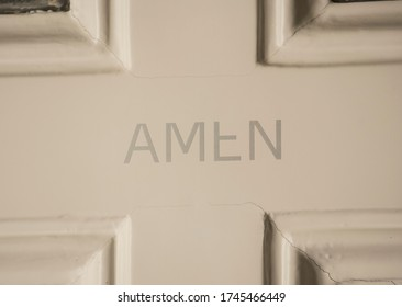 Amen sign on a door, symbol for prayer and worship of god