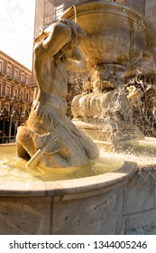 Amenano fountain and marble sculptures over the underground river running under Catania city centre in Sicily, Italy.