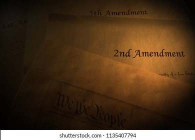 Amendments to the US Constitution on parchment paper, with We The People text