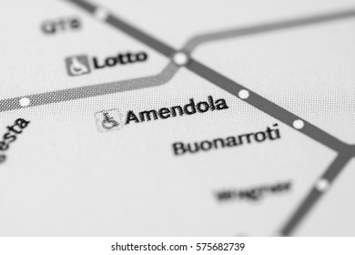 Amendola Station. Milan Metro map.