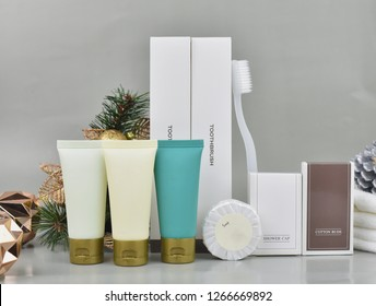 amenity set for hotel service, cosmetic products