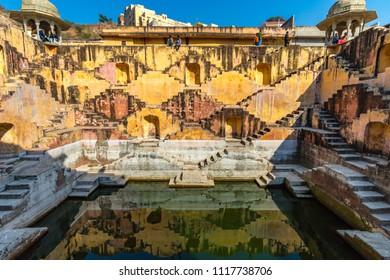 Amer, Rajasthan, India - Jan 12, 2017 - The Panna Meena stepwell near the Amber Palace in Rajasthan, India