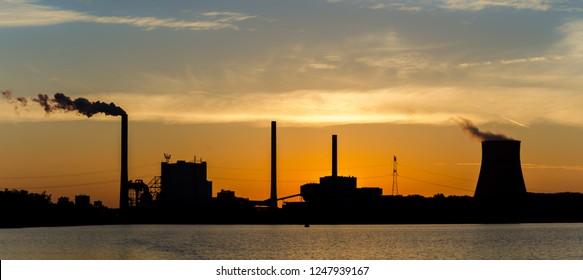 Amercentrale Powerplant in Geertruidenberg, the Netherlands by sunrise.