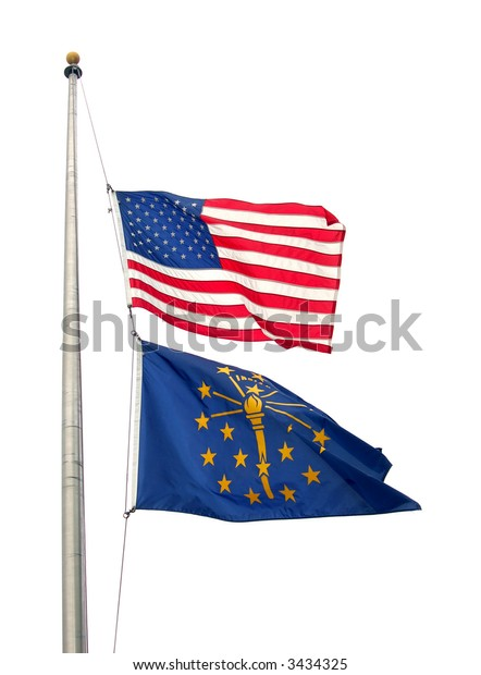 America (country) and Indiana (state) flags