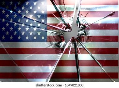 America divided concept, american flag on cracked background. US elections, polarization and political division, rich and poor, educated and non educated people