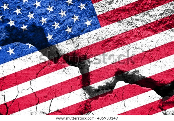America divided concept, american flag on cracked background. US elections, republicans democrats polarization