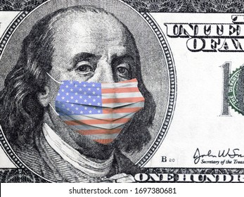 America is fighting the epidemic. American economy. Crisis and economic development. Dollar bill. The situation of the coronavirus pandemic in the United States. President Franklin in a medical mask.