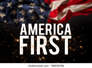 America first catcheword with american flag. Patriotic concept.
