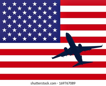 America flag with airplane