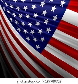 America flag and fabric background
